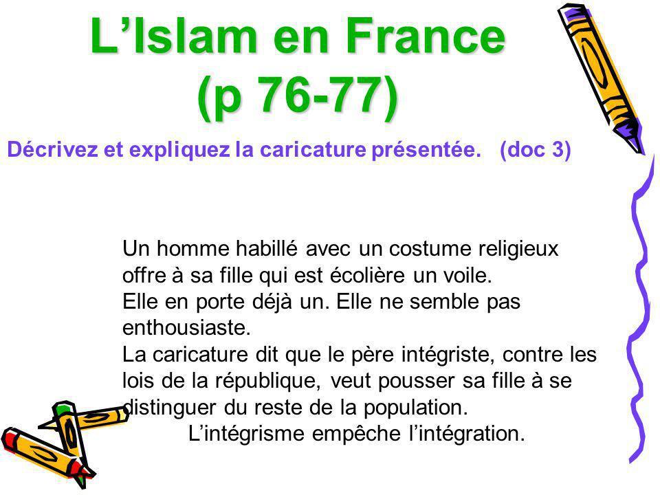 L'Islam en France (p 76-77) Décrivez et expliquez la caricature présentée. (doc 3)