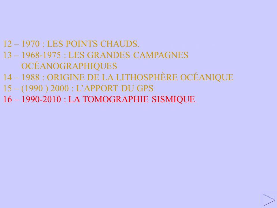 16 – 1990-2010 : LA TOMOGRAPHIE SISMIQUE