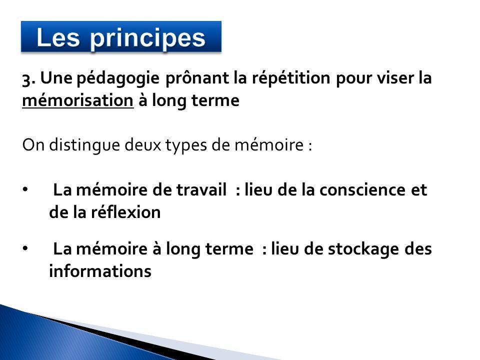 Les principes 3. Une pédagogie prônant la répétition pour viser la
