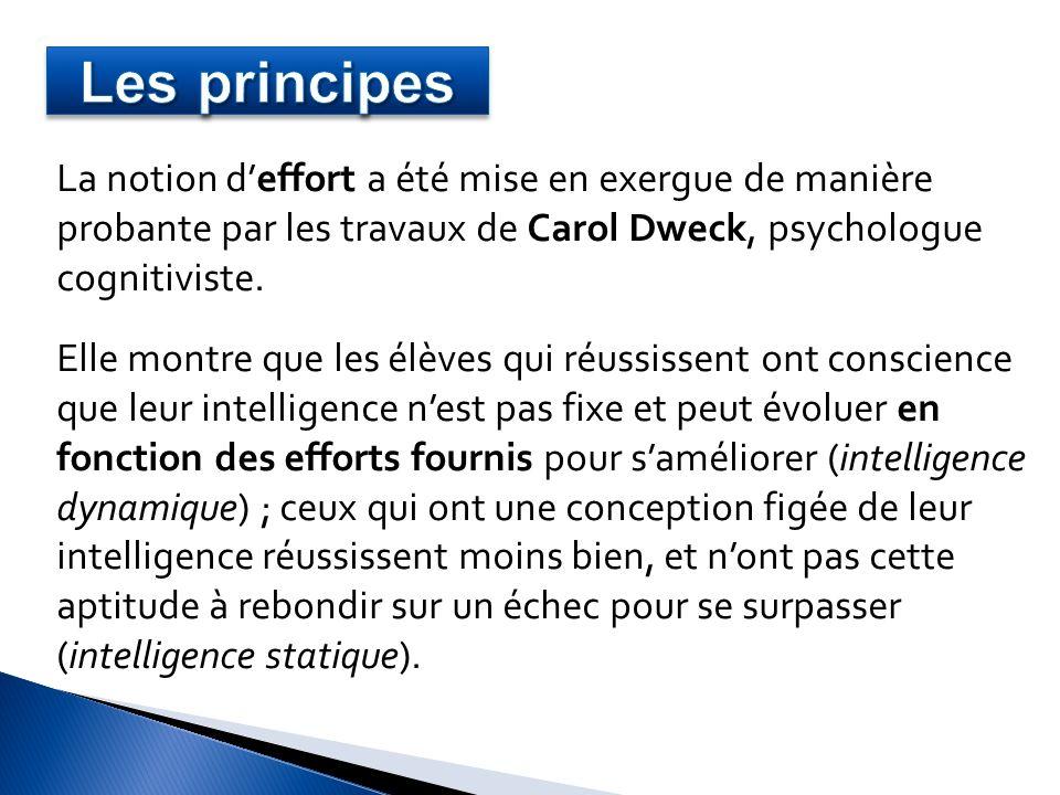 Les principes La notion d'effort a été mise en exergue de manière probante par les travaux de Carol Dweck, psychologue cognitiviste.