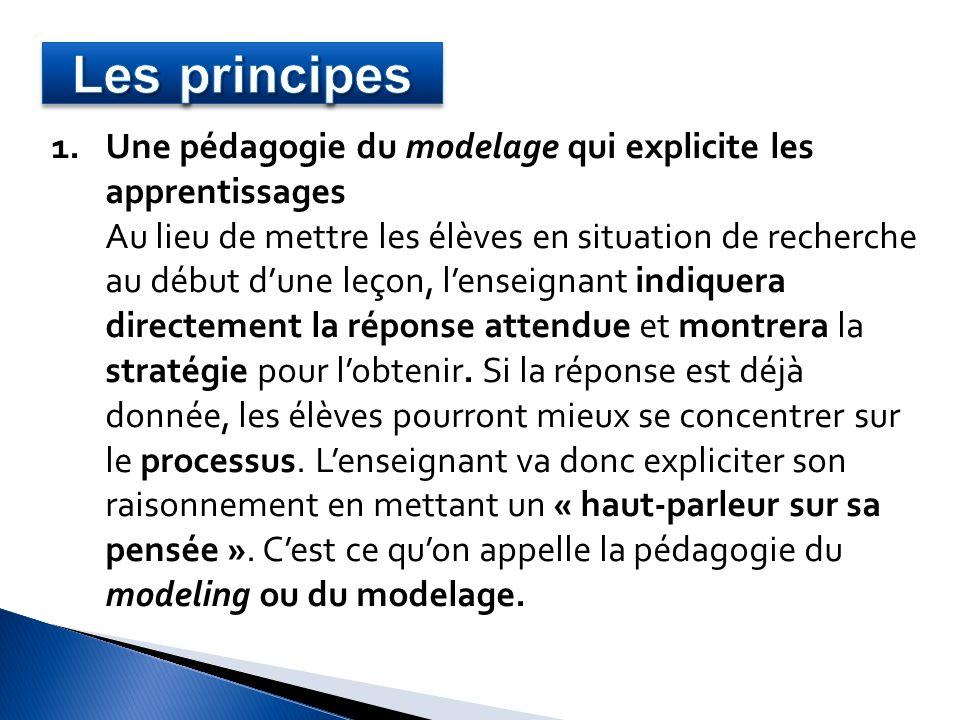 Les principes Une pédagogie du modelage qui explicite les apprentissages.