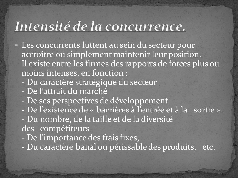 Intensité de la concurrence.