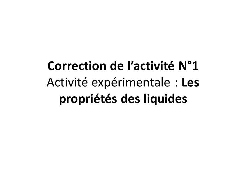 Correction de l'activité N°1 Activité expérimentale : Les propriétés des liquides