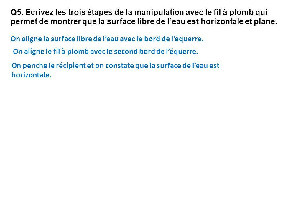 Q5. Ecrivez les trois étapes de la manipulation avec le fil à plomb qui permet de montrer que la surface libre de l'eau est horizontale et plane.