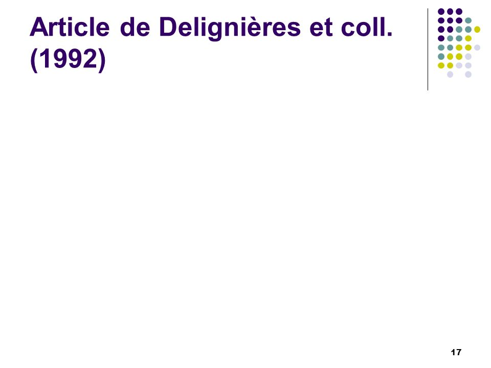 Article de Delignières et coll. (1992)