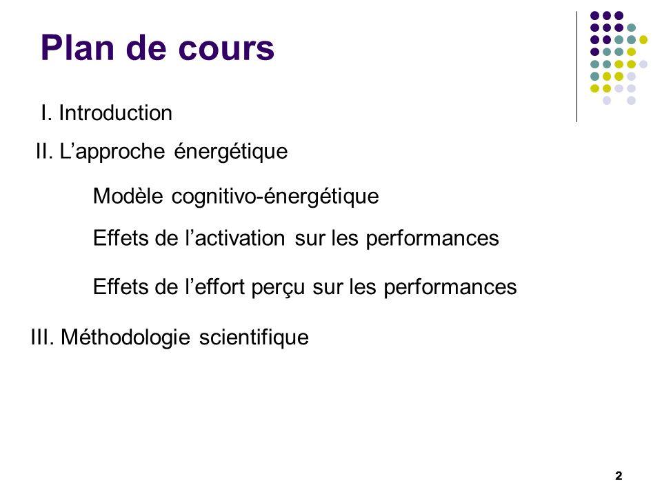 Plan de cours I. Introduction II. L'approche énergétique