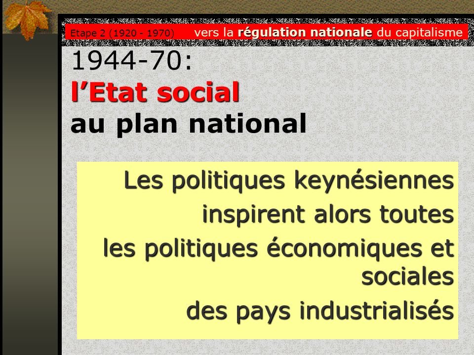 1944-70: l'Etat social au plan national