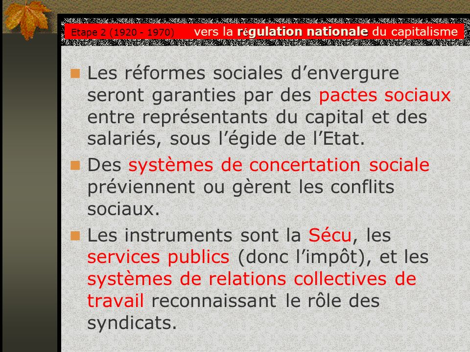 Etape 2 (1920 - 1970) vers la régulation nationale du capitalisme