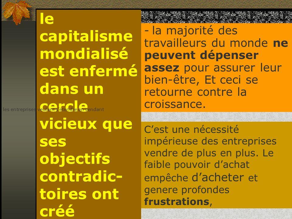le capitalisme mondialisé est enfermé dans un cercle vicieux que ses objectifs contradic-toires ont créé