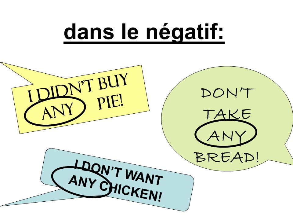 dans le négatif: DON'T TAKE ANY BREAD! I didn't buy any PIE!