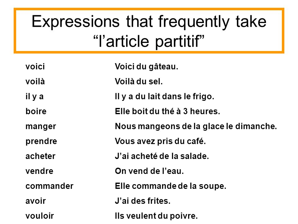 Expressions that frequently take l'article partitif