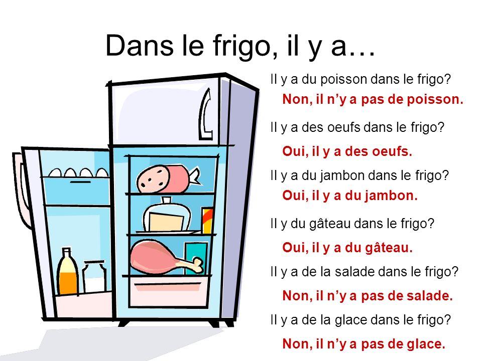 Dans le frigo, il y a… Il y a du poisson dans le frigo