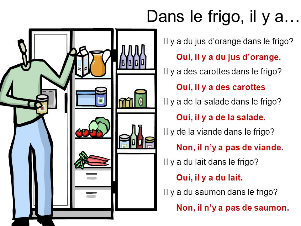Dans le frigo, il y a… Il y a du jus d'orange dans le frigo