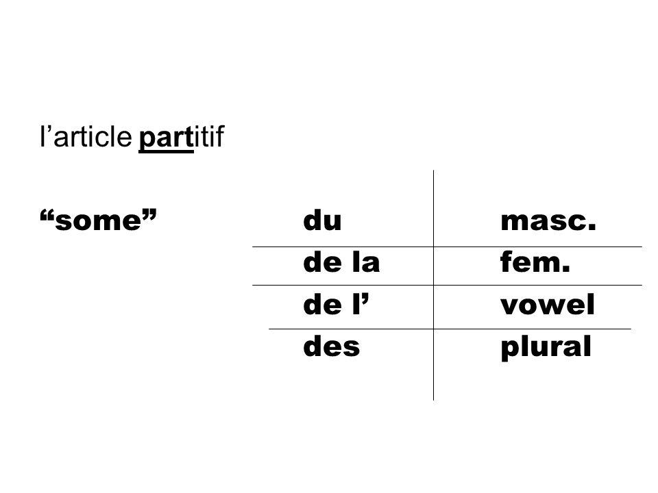 l'article partitif some du masc. de la fem. de l' vowel des plural