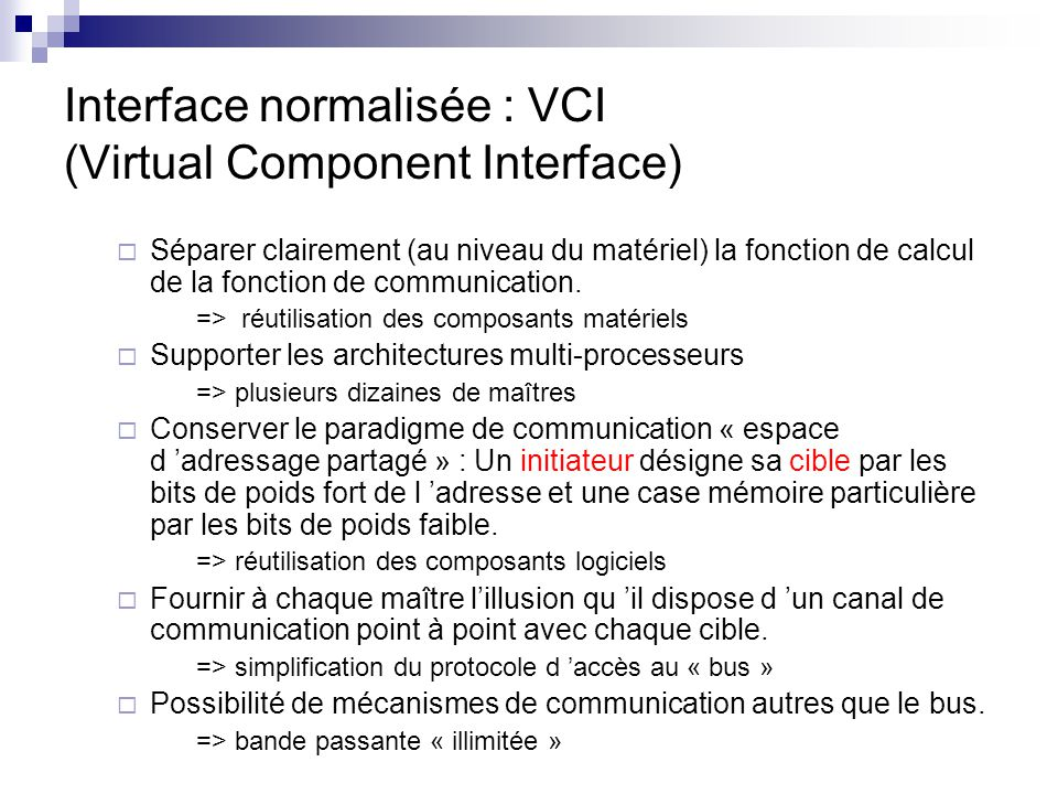 Interface normalisée : VCI (Virtual Component Interface)