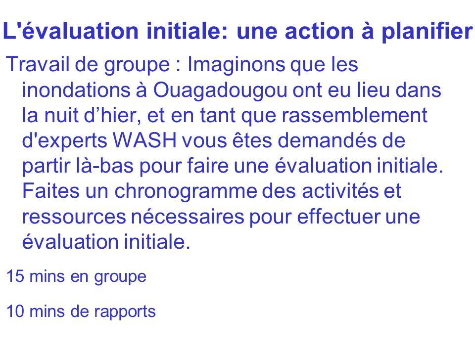L évaluation initiale: une action à planifier