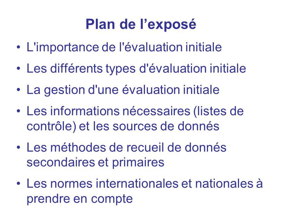 Plan de l'exposé L importance de l évaluation initiale