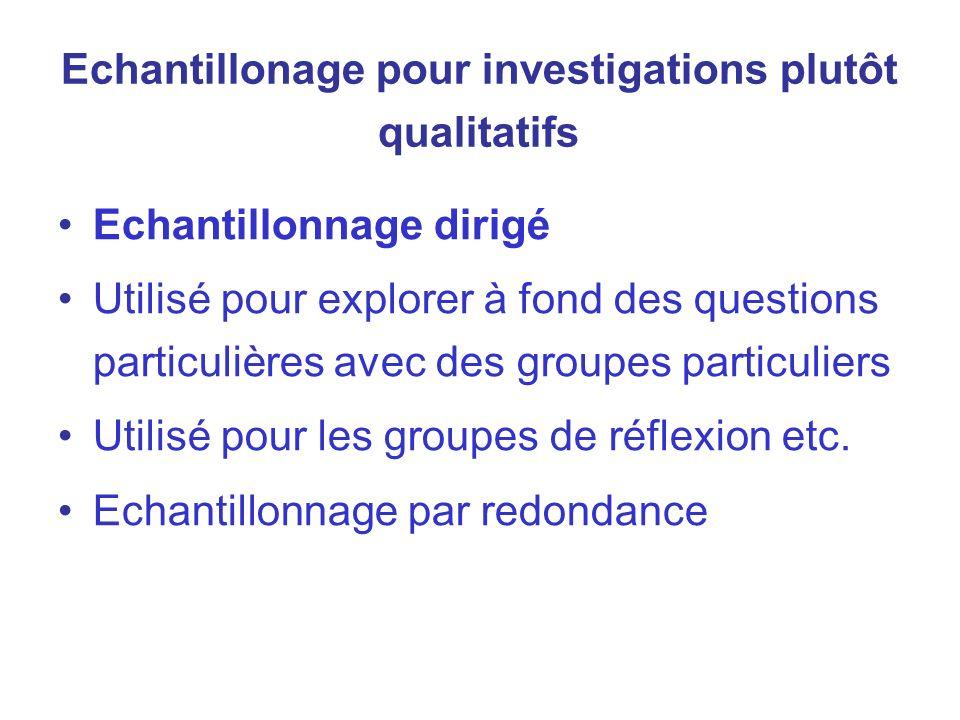 Echantillonage pour investigations plutôt qualitatifs