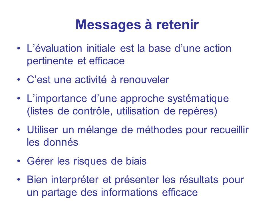 Messages à retenir L'évaluation initiale est la base d'une action pertinente et efficace. C'est une activité à renouveler.