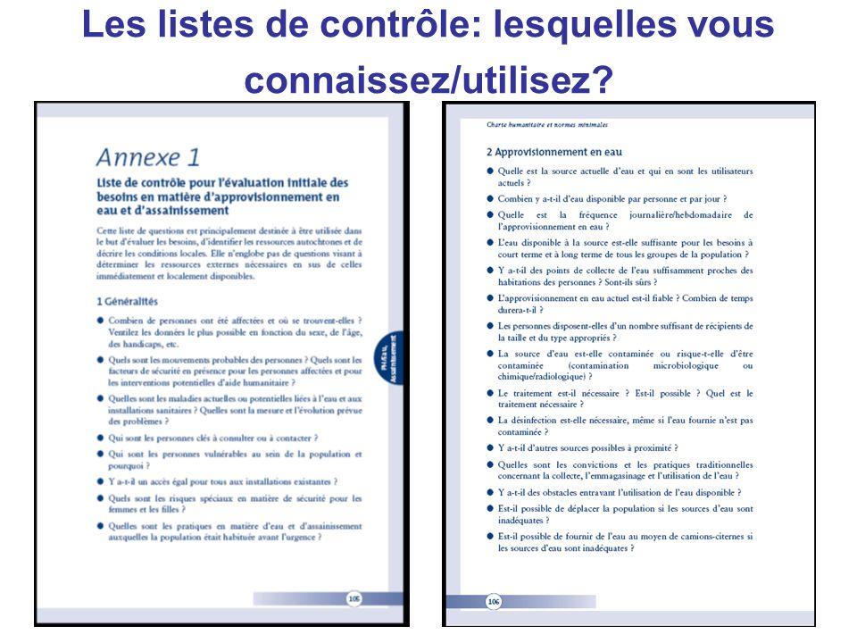 Les listes de contrôle: lesquelles vous connaissez/utilisez