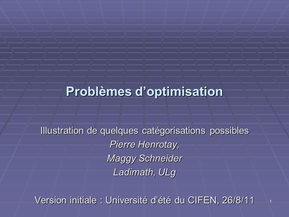 Problèmes d'optimisation