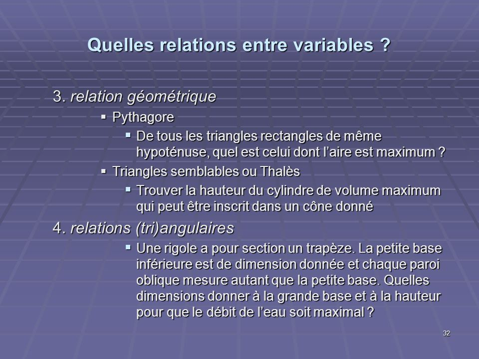 Quelles relations entre variables
