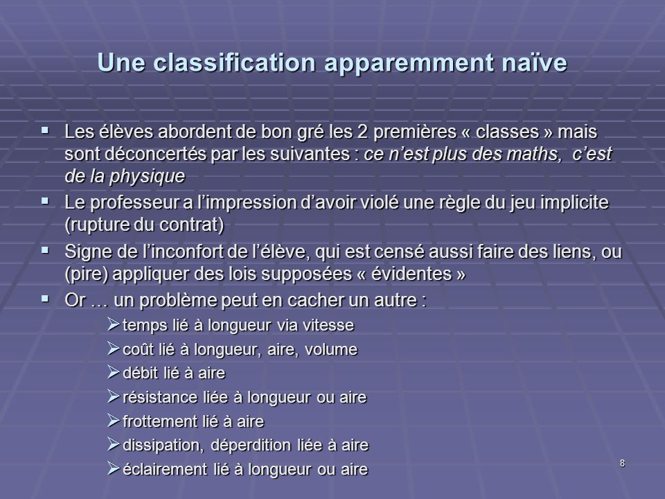 Une classification apparemment naïve