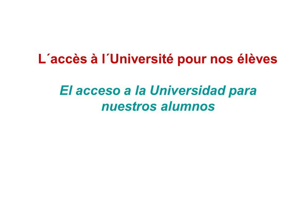 L´accès à l´Université pour nos élèves El acceso a la Universidad para nuestros alumnos