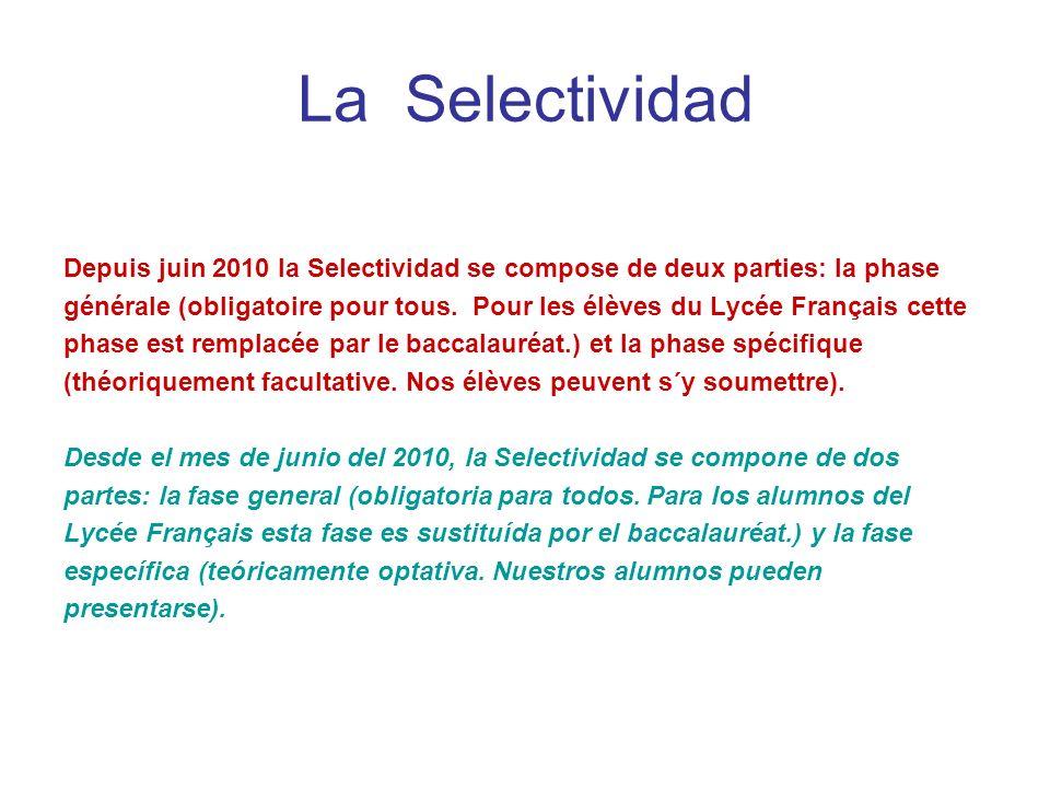 La SelectividadDepuis juin 2010 la Selectividad se compose de deux parties: la phase.
