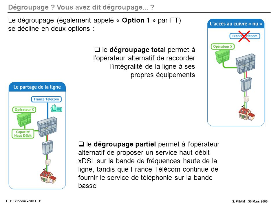 Le dégroupage (également appelé « Option 1 » par FT) se décline en deux options :
