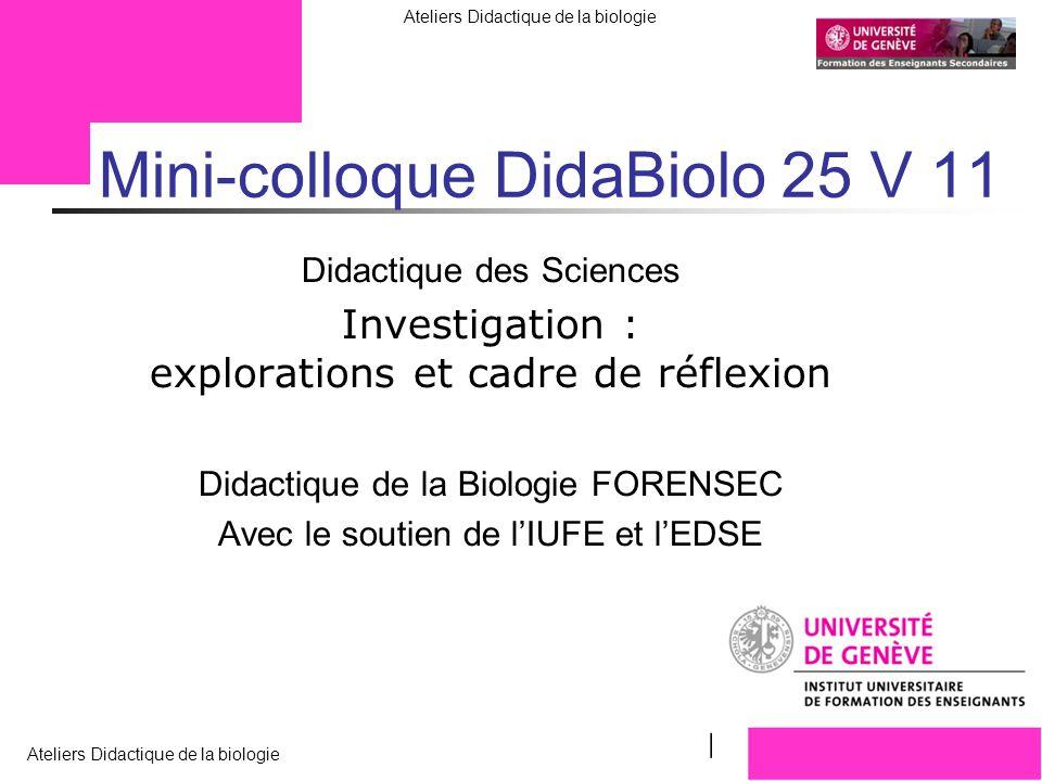 Mini-colloque DidaBiolo 25 V 11