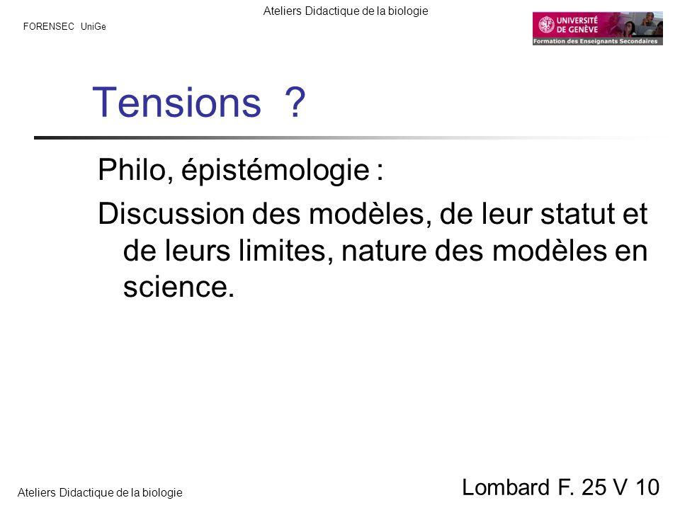 Tensions Philo, épistémologie :