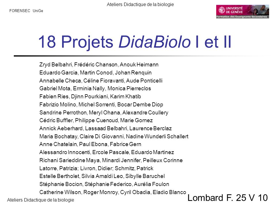 18 Projets DidaBiolo I et II