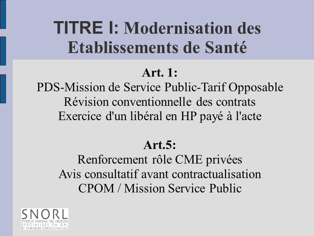 TITRE I: Modernisation des Etablissements de Santé