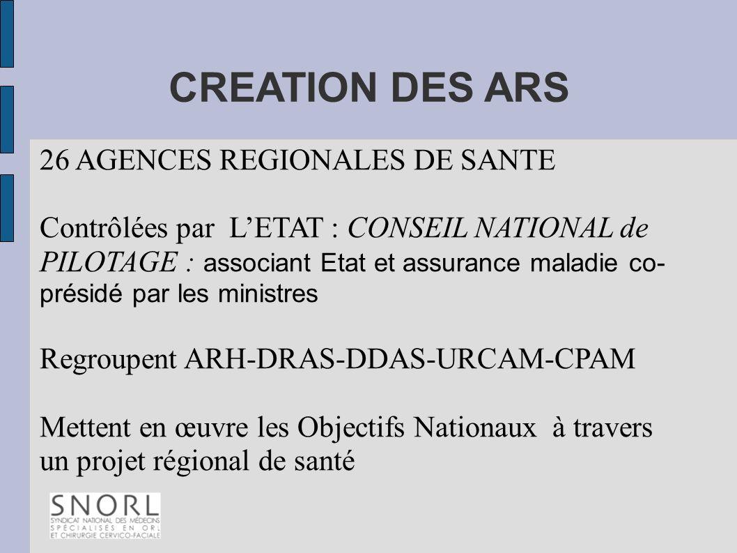 CREATION DES ARS 26 AGENCES REGIONALES DE SANTE