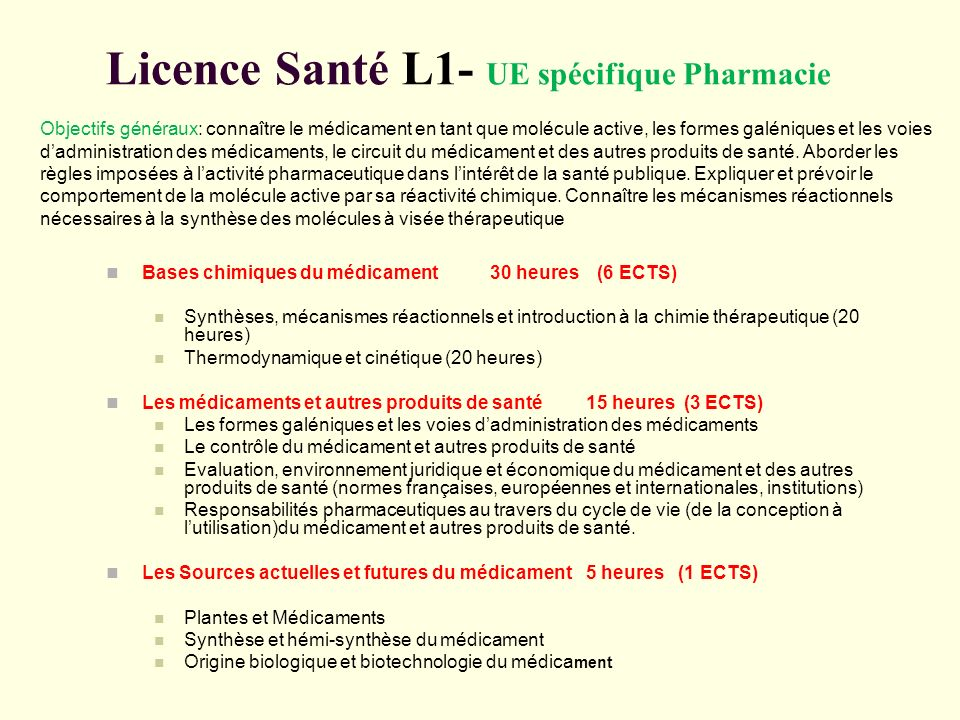 Licence Santé L1- UE spécifique Pharmacie