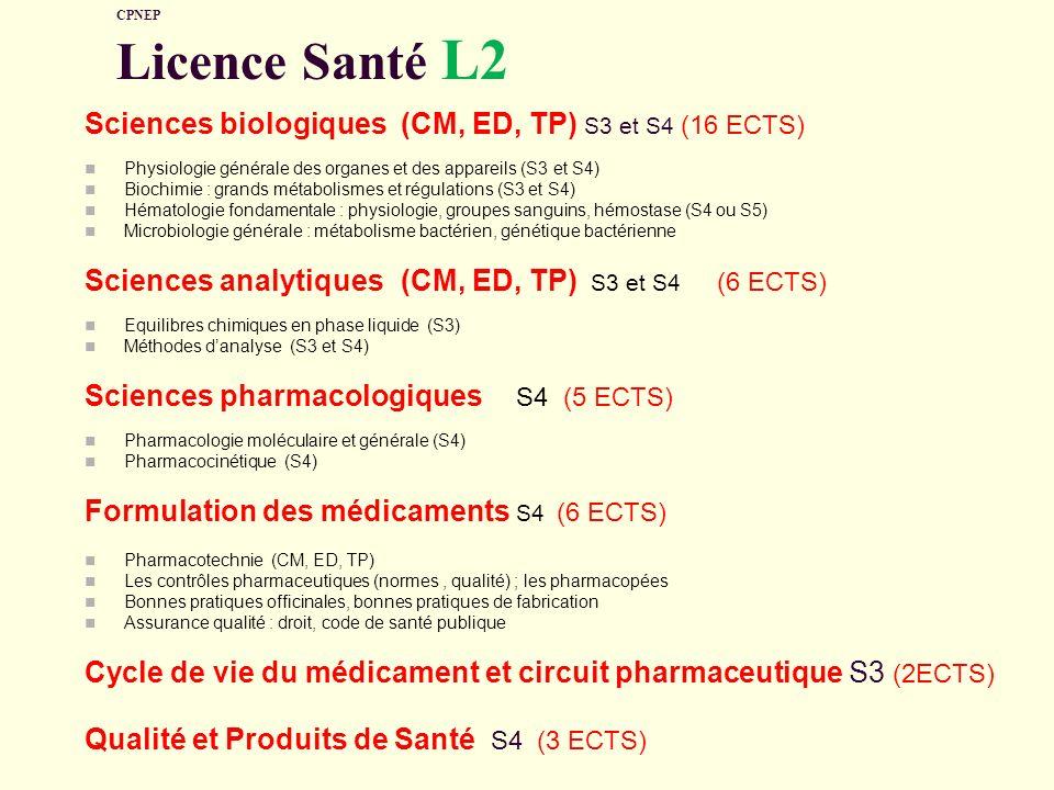 Sciences biologiques (CM, ED, TP) S3 et S4 (16 ECTS)