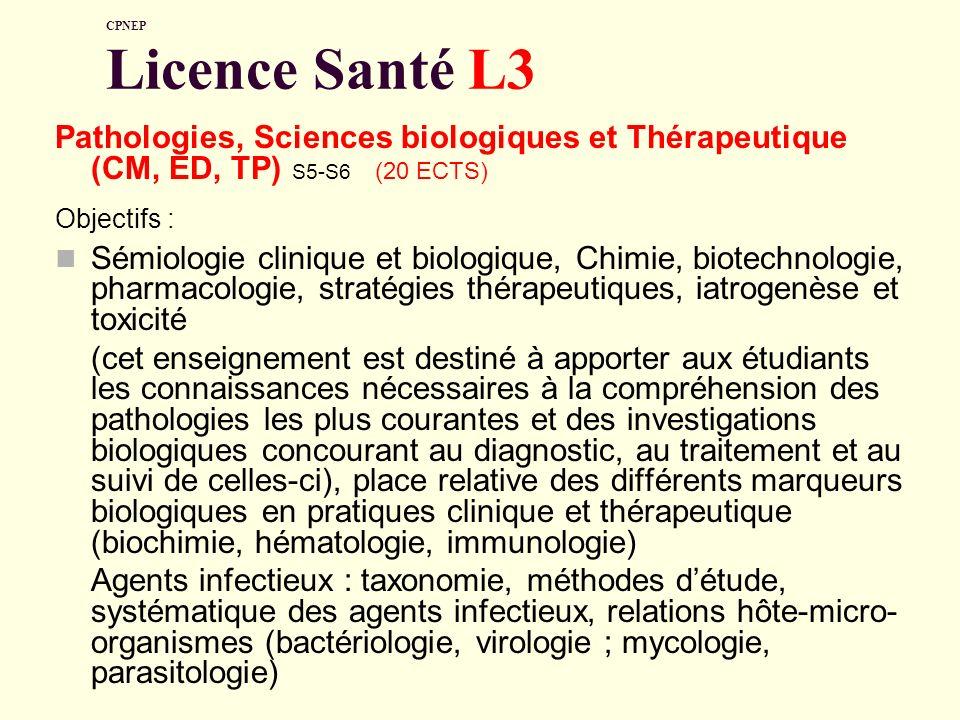 CPNEP Licence Santé L3 Pathologies, Sciences biologiques et Thérapeutique (CM, ED, TP) S5-S6 (20 ECTS)