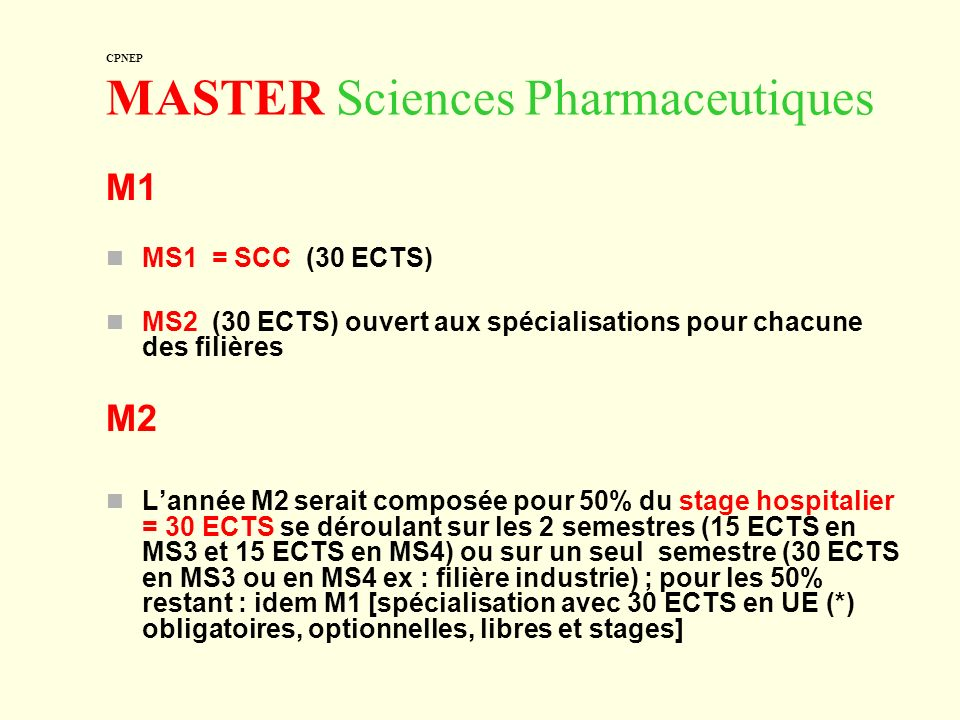 CPNEP MASTER Sciences Pharmaceutiques
