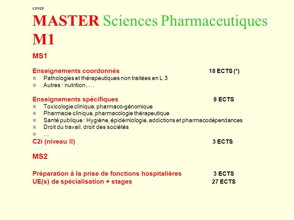 CPNEP MASTER Sciences Pharmaceutiques M1