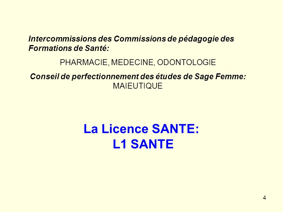 La Licence SANTE: L1 SANTE