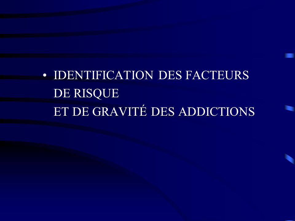 IDENTIFICATION DES FACTEURS DE RISQUE ET DE GRAVITÉ DES ADDICTIONS