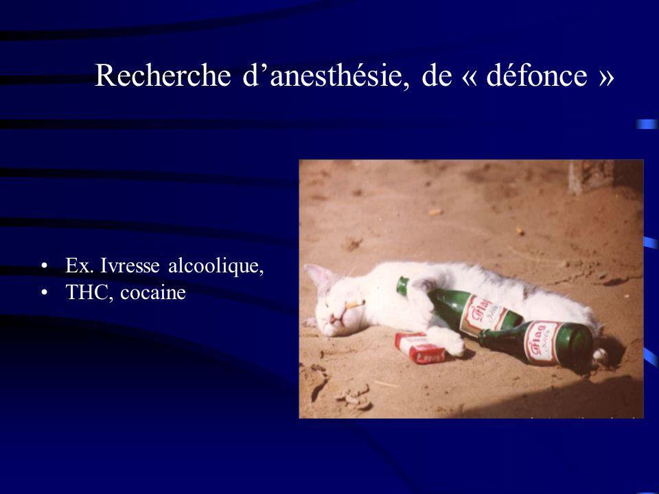 Recherche d'anesthésie, de « défonce »