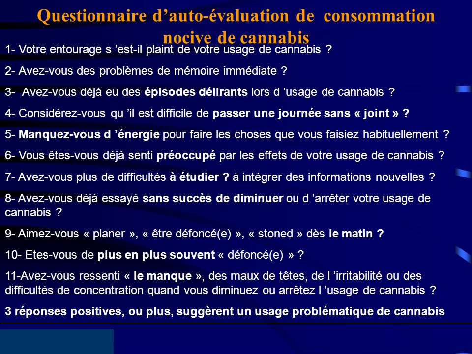 Questionnaire d'auto-évaluation de consommation nocive de cannabis