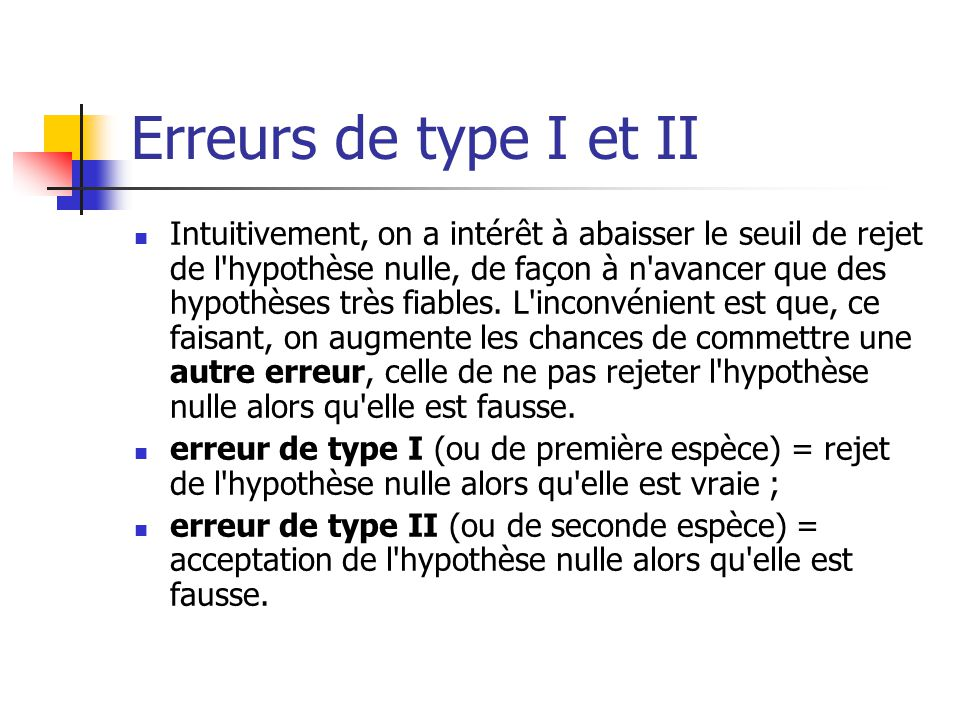 Erreurs de type I et II