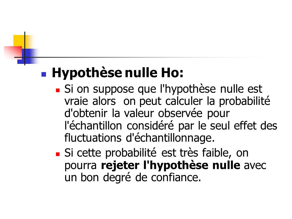 Hypothèse nulle Ho: