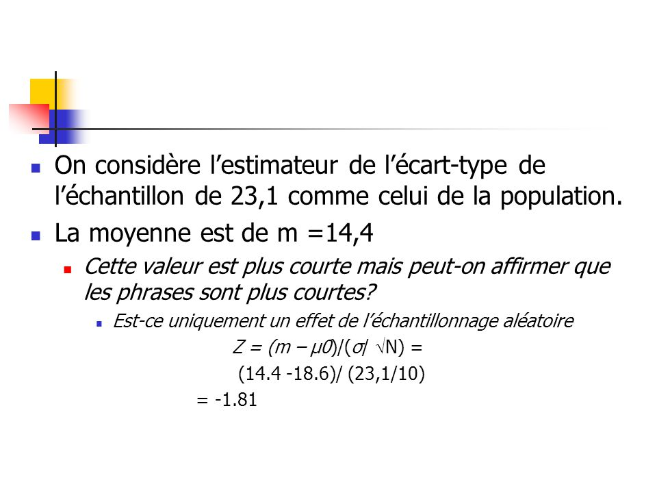 On considère l'estimateur de l'écart-type de l'échantillon de 23,1 comme celui de la population.