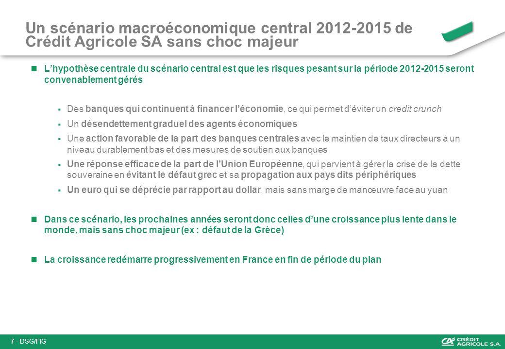 Un scénario macroéconomique central 2012-2015 de Crédit Agricole SA sans choc majeur