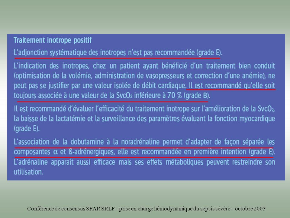 Conférence de consensus SFAR SRLF– prise en charge hémodynamique du sepsis sévère – octobre 2005