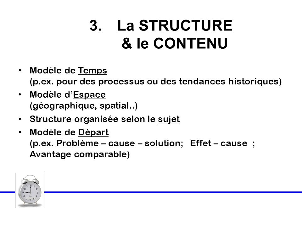 La STRUCTURE & le CONTENU